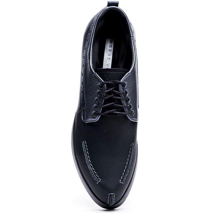 Туфли-броги из зернистой и гдадкой кожи синего цвета Modus Vivendi на шнуровке