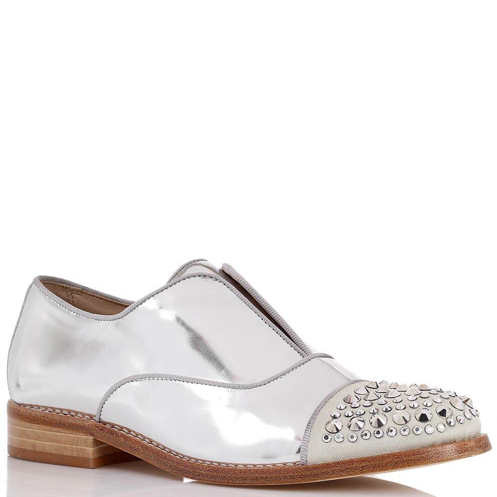 Броги Ras из кожи серебристого цвета с декорированным носочком металлическими шипами-стразами