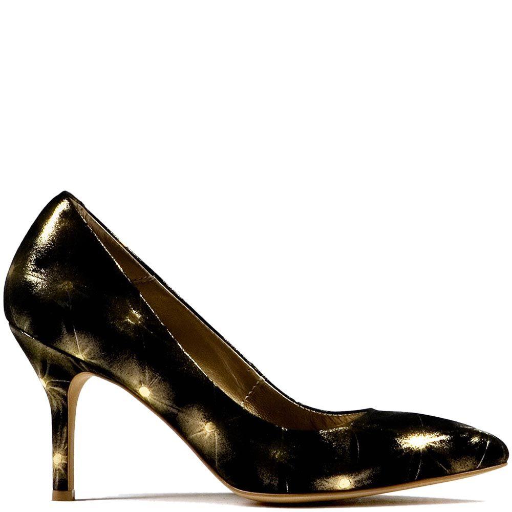 Черные туфли Modus Vivendi на среднем каблуке с золотистыми искрами