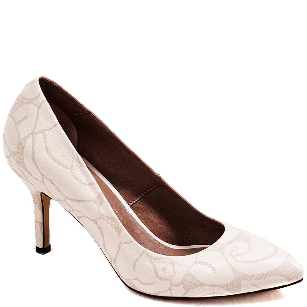 Туфли-лодочки Modus Vivendi из натуральной кожи молочного цвета с золотистым рисунком