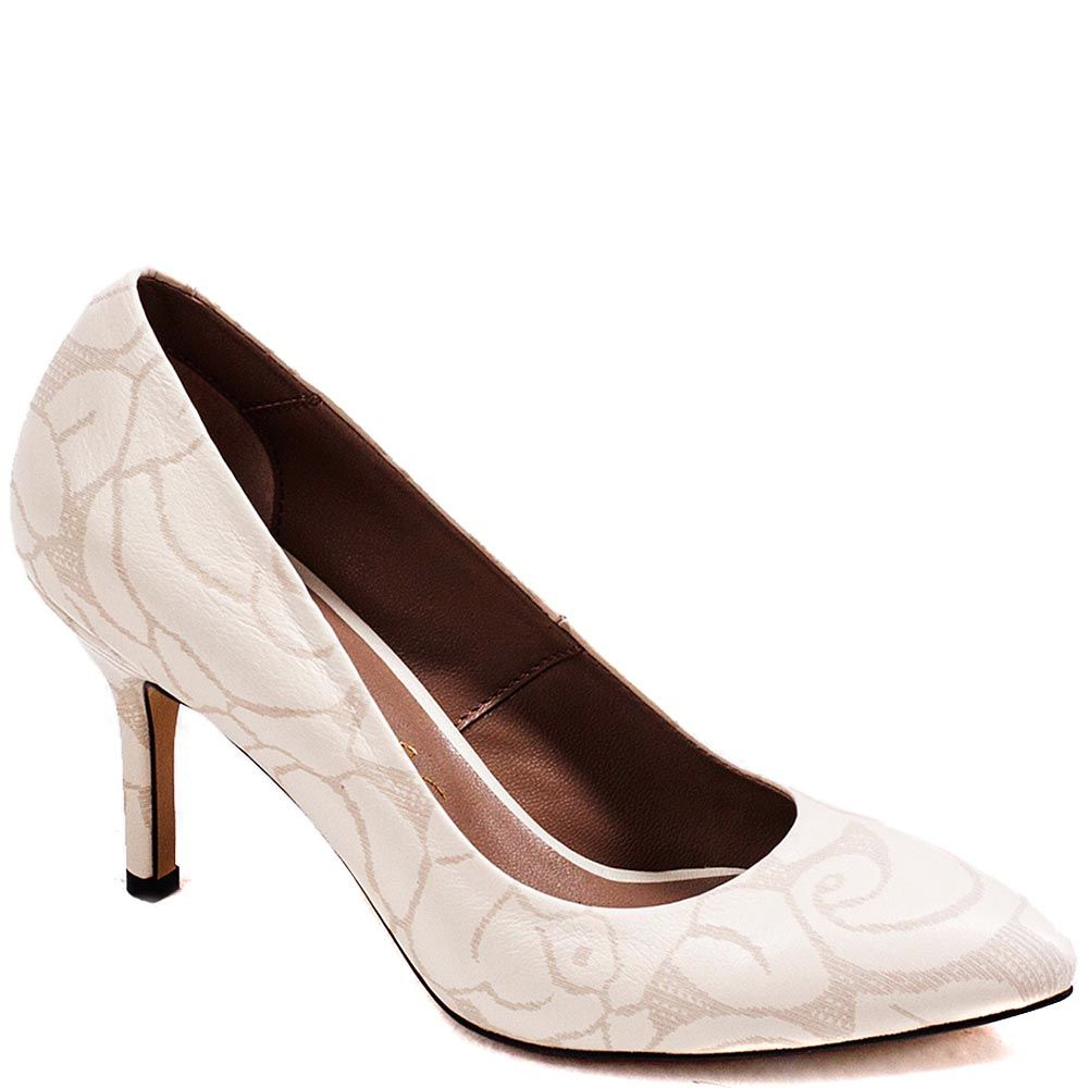 Туфли-лодочки Modus Vivendi из кожи молочного цвета с золотистым рисунком