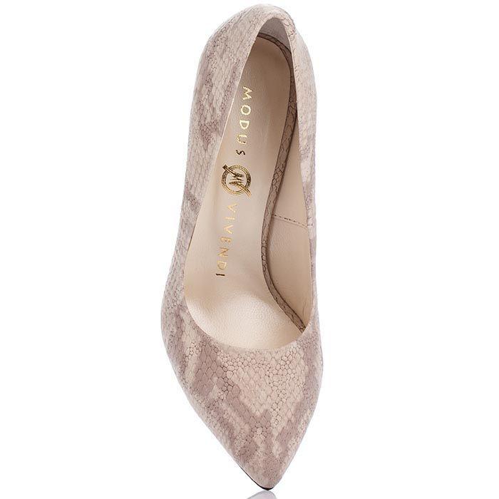 Кожаные туфли Modus Vivendi бежевого цвета с имитацией кожи питона