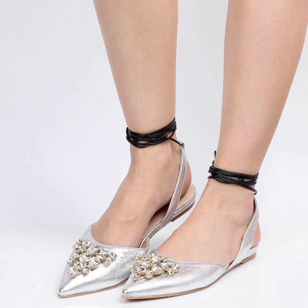 Туфли Ras из кожи серебристого цвета с открытой пяточкой на шнуровке