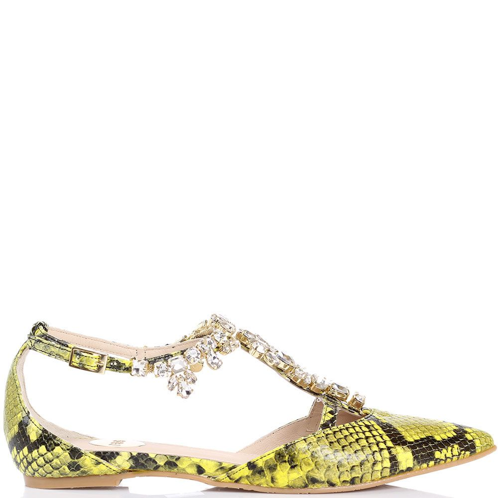 Туфли Ras лимонного цвета с имитацией кожи питона и декором из крупных камней