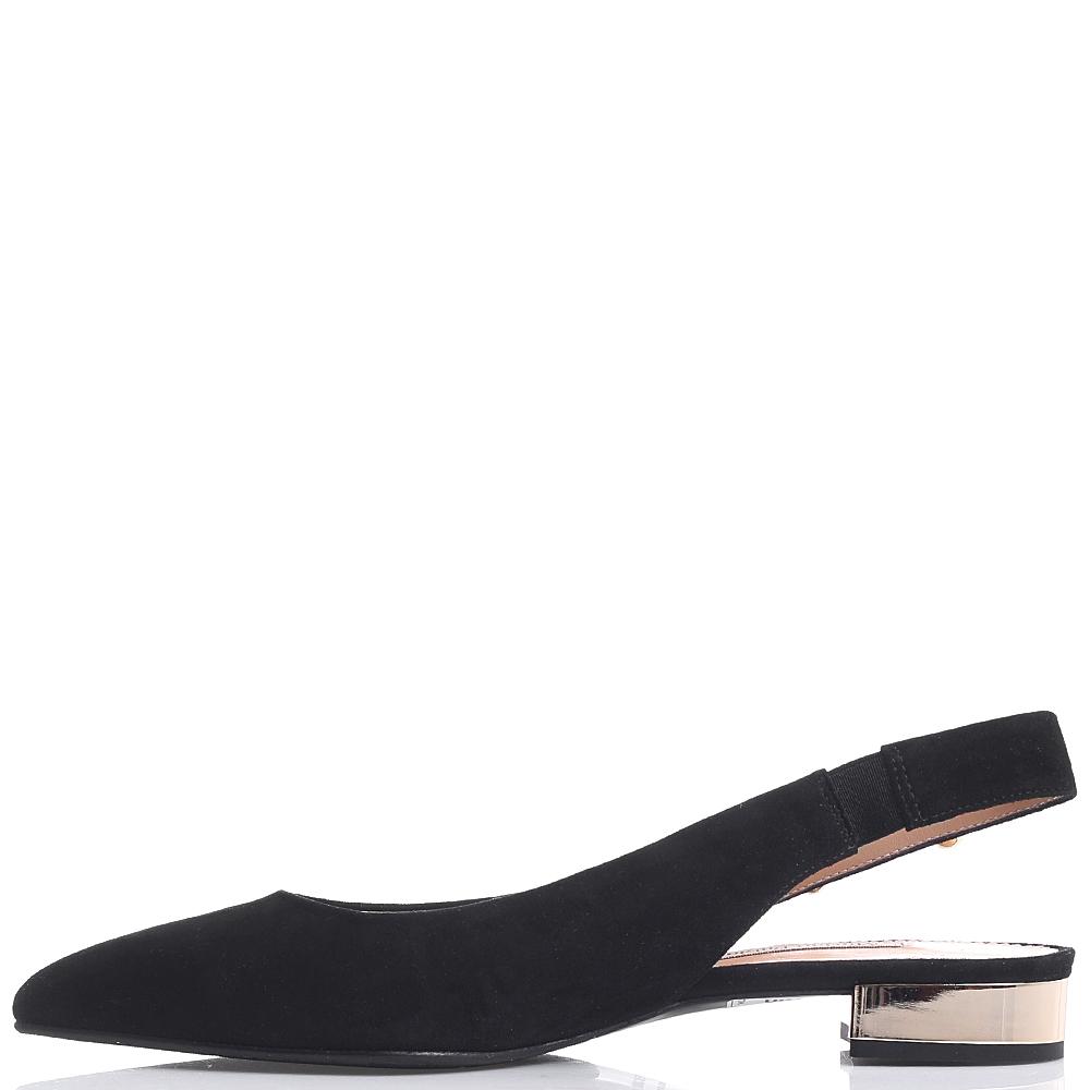 Черные балетки-слингбеки Marino Fabiani с острым носком