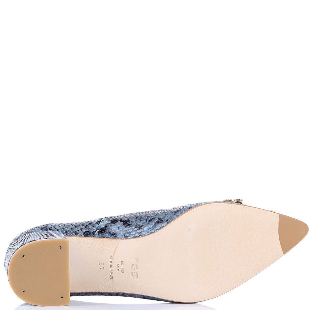 Туфли Ras сизого цвета с принтом и тиснением под кожу питона с декором из крупных камней