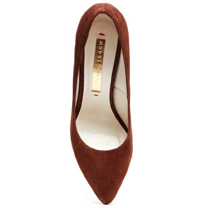 Замшевые туфли-лодочки Modus Vivendi коричневого цвета