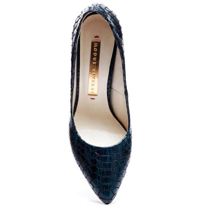 Кожаные туфли-лодочки синего цвета Modus Vivendi с тиснением под питона