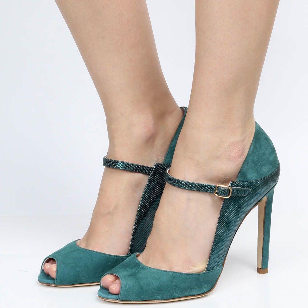 Замшевые босоножки зеленого цвета Reda Milano с открытым носочком