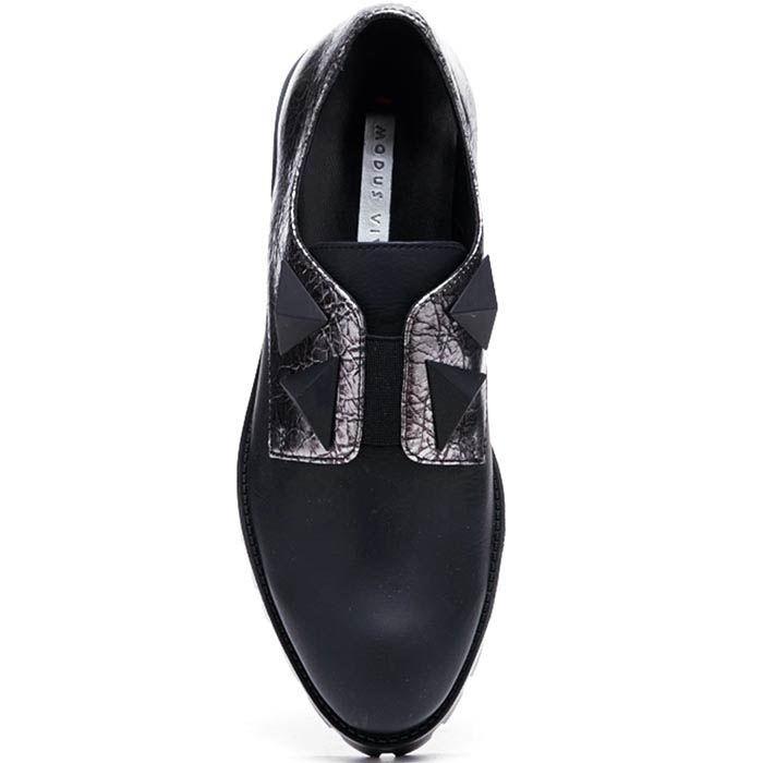 Кожаные туфли черного цвета с серебристыми встакавками Modus Vivendi на резинках