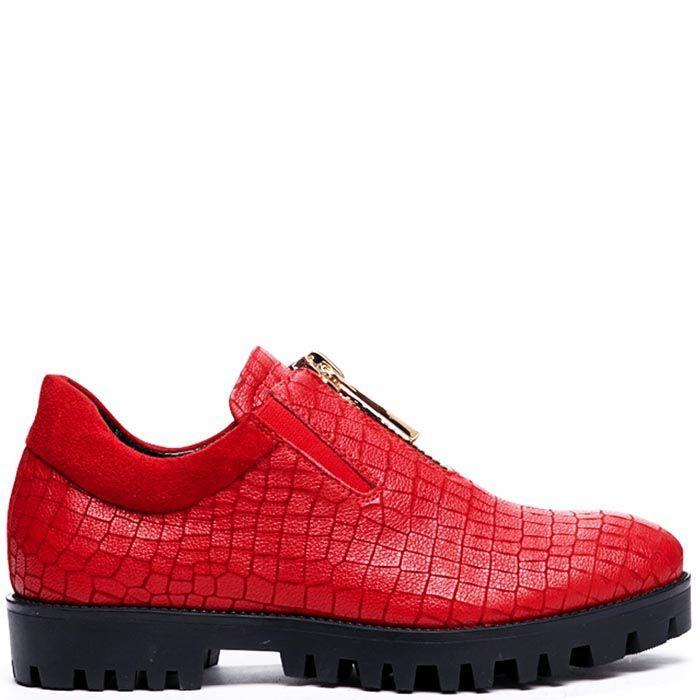 Кожаные туфли красного цвета с тиснением Modus Vivendi на молнии