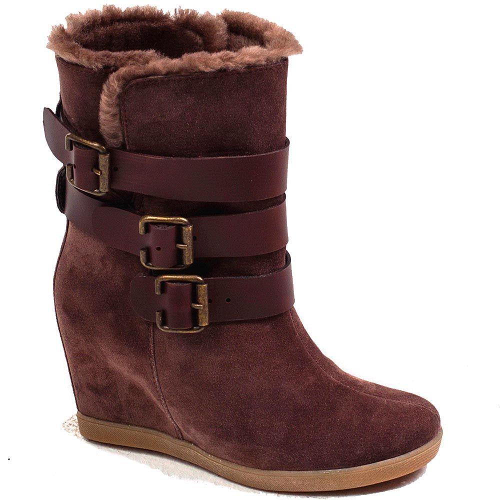 Замшевые женские ботинки Modus Vivendi коричневого цвета с тремя ремешками