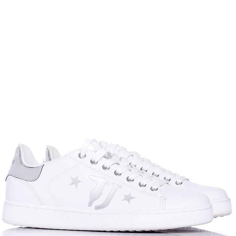 Белые кеды Trussardi Jeans с серебристым лого