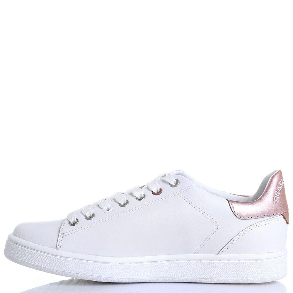 Белые кожаные кеды Trussardi Jeans с декоративной перфорацией