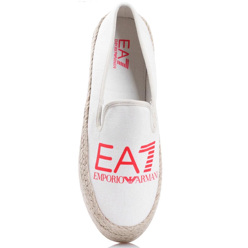 Белые эспадрильи Ea7 Emporio Armani на платформе
