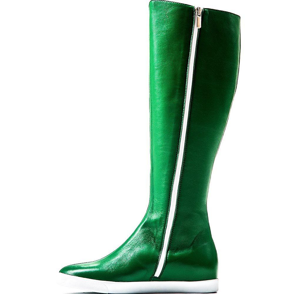 Высокие сапоги Modus Vivendi из гладкой кожи ярко-зеленого цвета