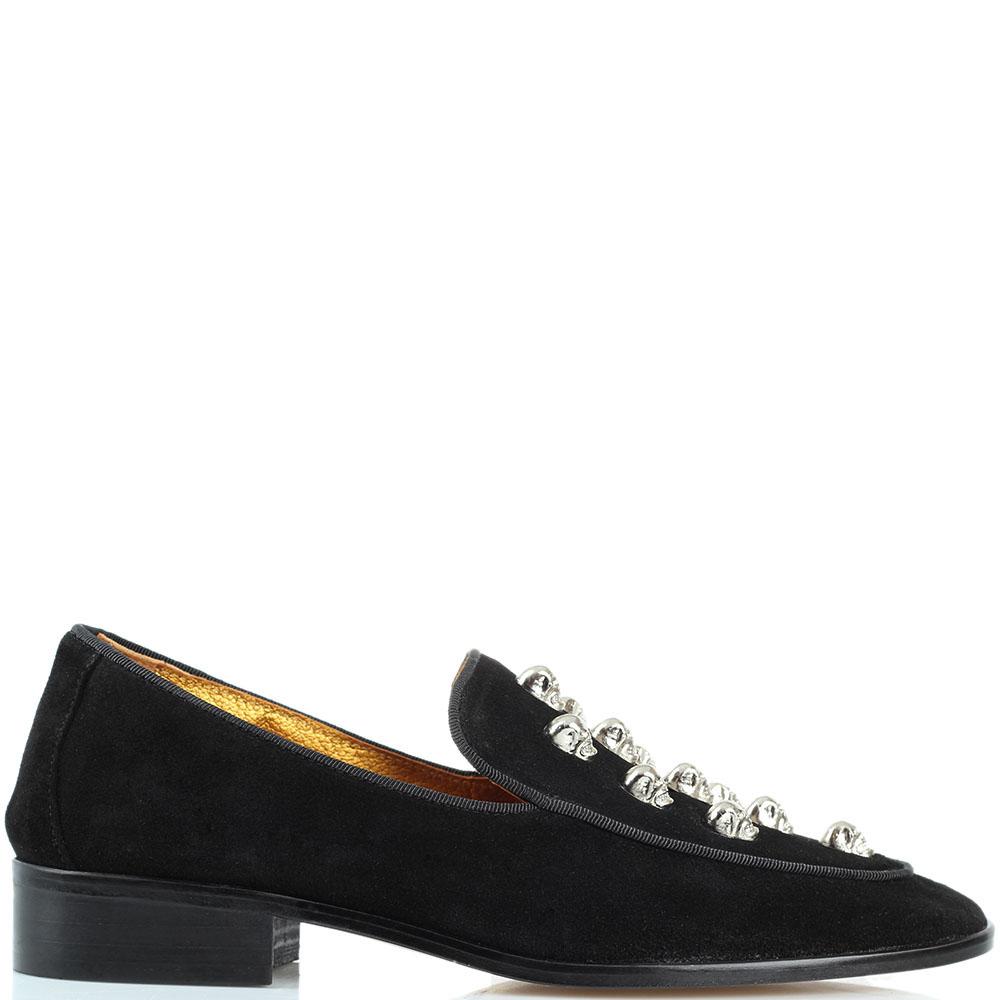Замшевые туфли Ras на низком каблуке с металлическим декором-черепами