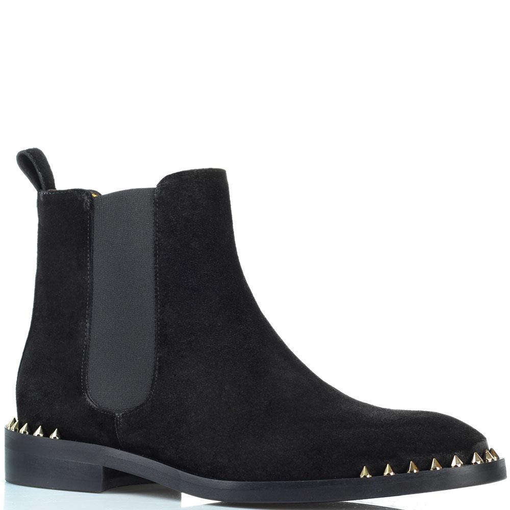 Ботинки Ras из замши черного цвета с декором-шипами