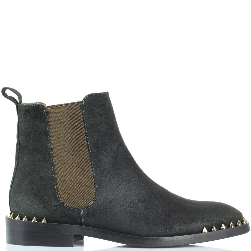 Замшевые ботинки Ras зеленого цвета с шипами на носочке
