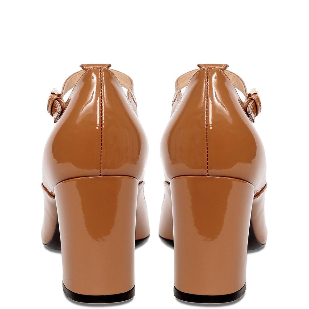 Лаковые туфли N21 бежевые с бантом