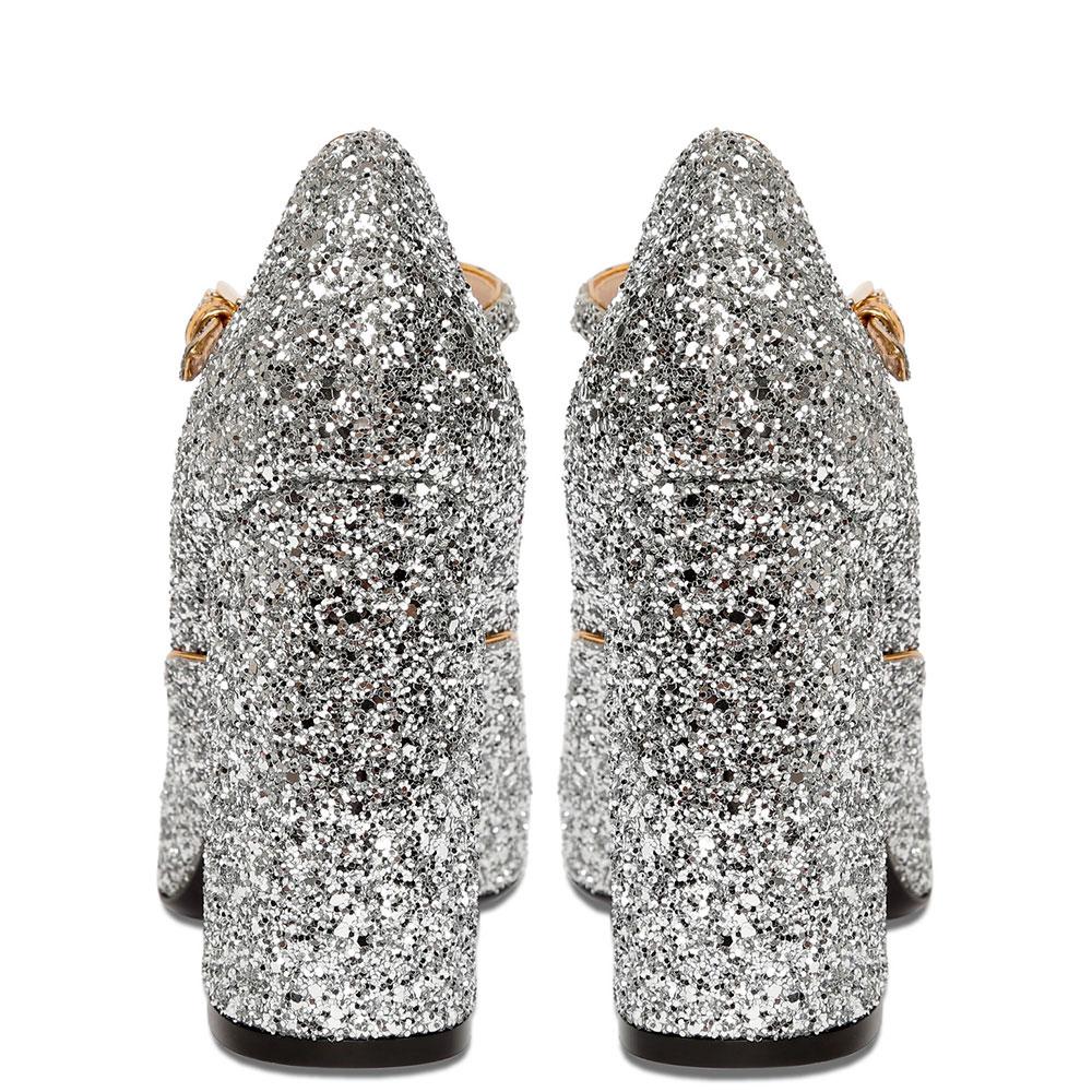 Туфли N21 с глиттером серебристого цвета