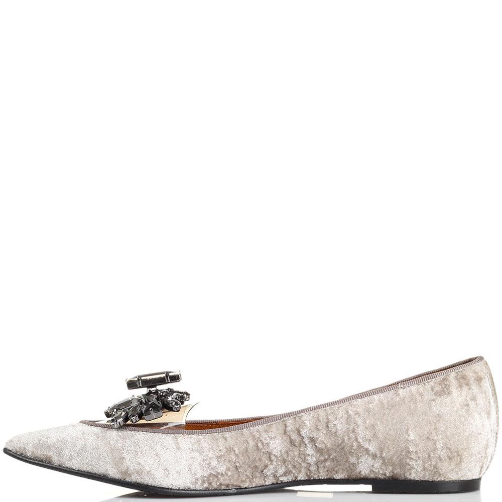 Туфли из бархата Ras с силиконовой вставкой и серыми камнями