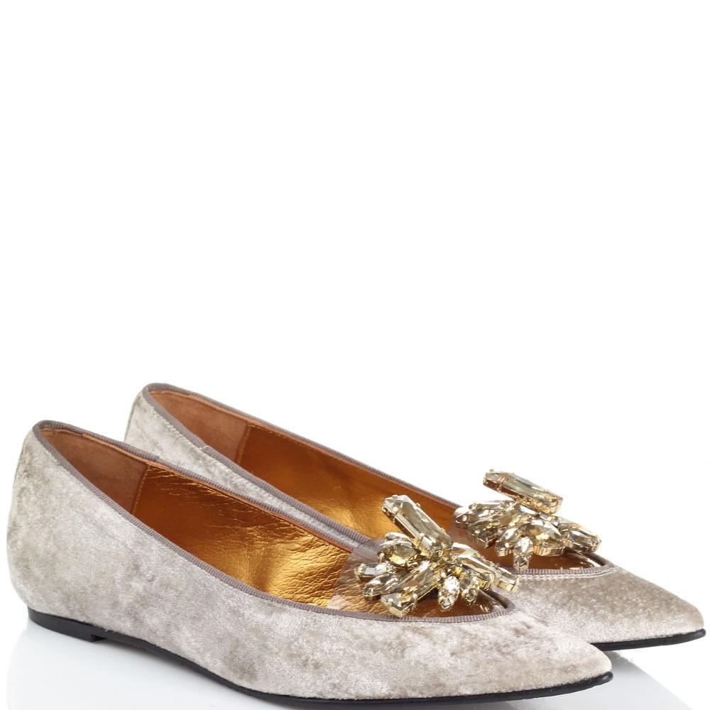 Бархатные туфли Ras с силиконовой вставкой и золотистыми камнями