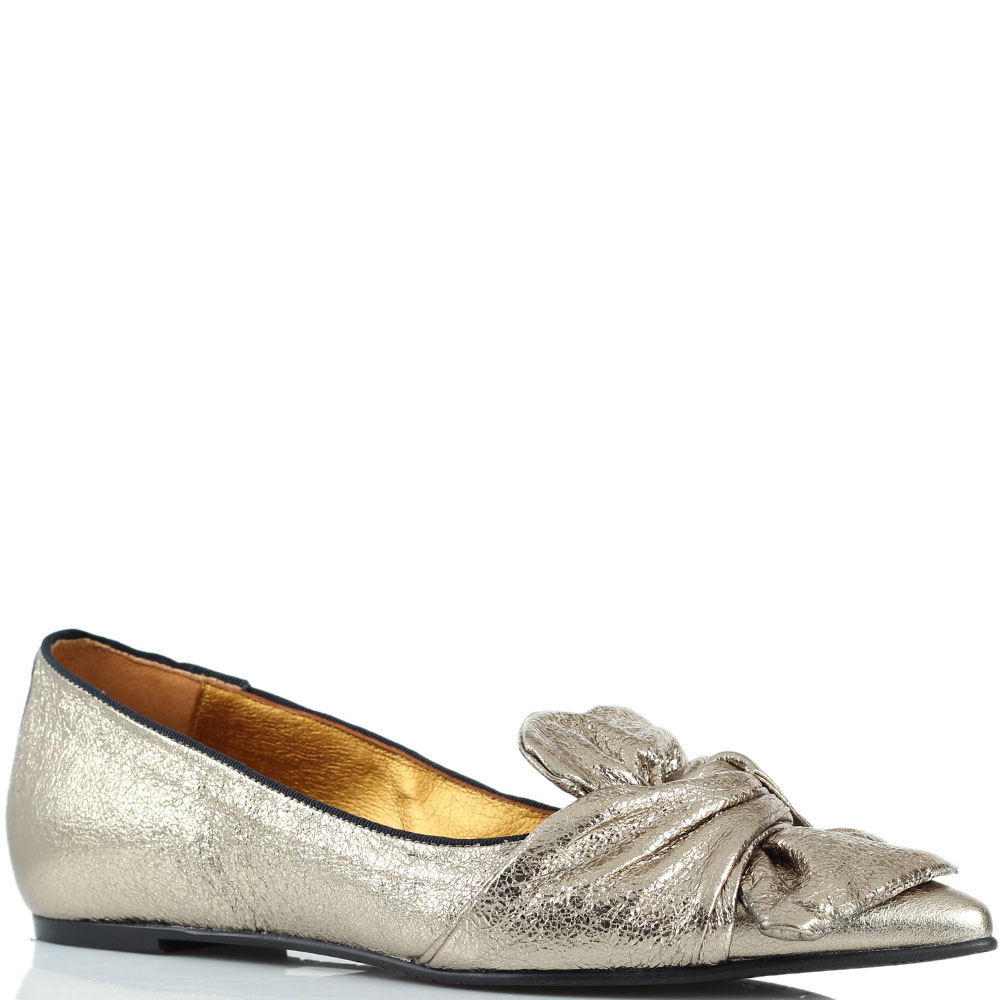 Золотистые туфли Ras из кожи с крупным бантом