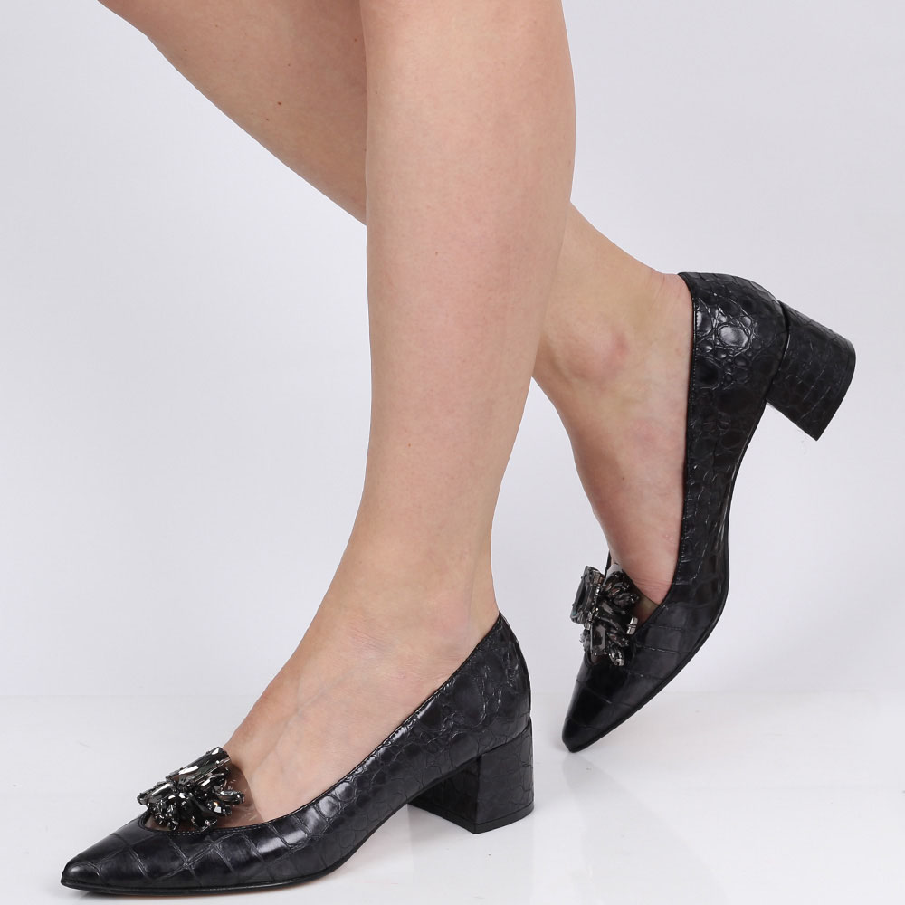 Туфли-лодочки Ras на устойчивом каблуке с силиконовой вставкой и серыми камнями