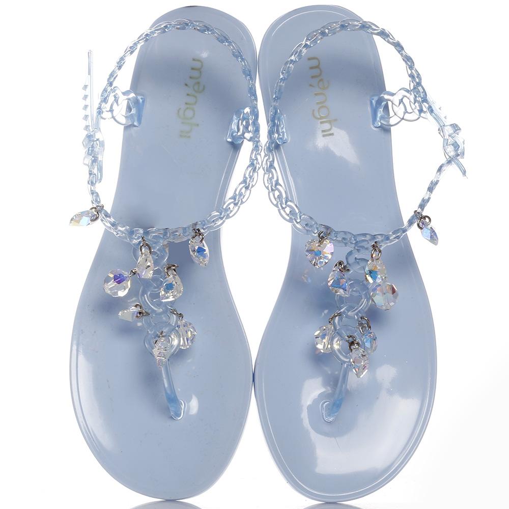 Голубые сандалии Menghi с подвесками-стразами