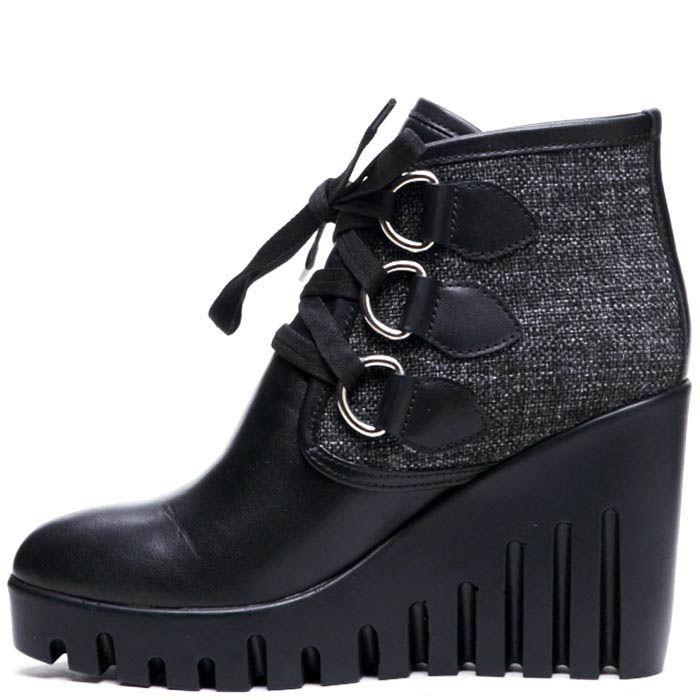 Ботинки из кожи и текстиля черного цвета на шнуровке Modus Vivendi на платформе