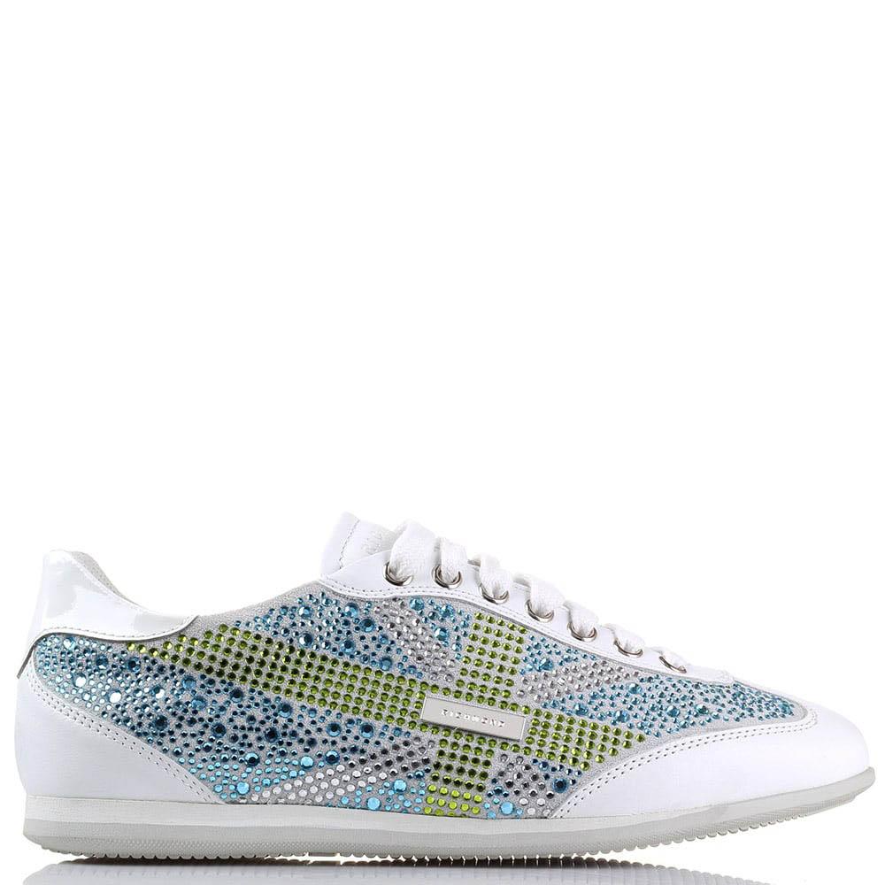 Белые кожаные кроссовки Richmond с зелеными и синими стразами