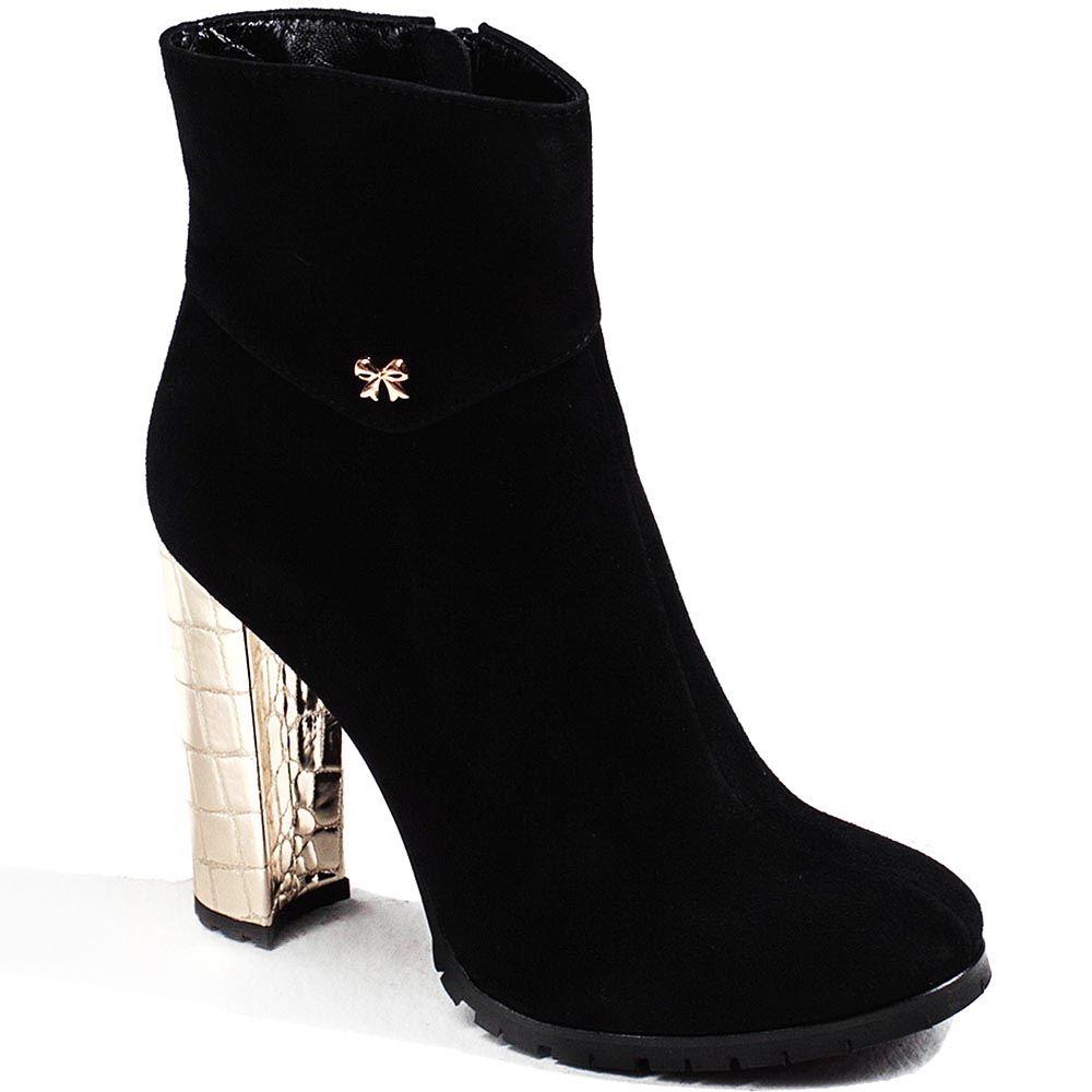 Демисезонные ботинки Modus Vivendi из черной замши на золотистом каблуке