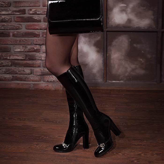 Сапоги Modus Vivendi из лаковой кожи на высоком устойчивом каблуке
