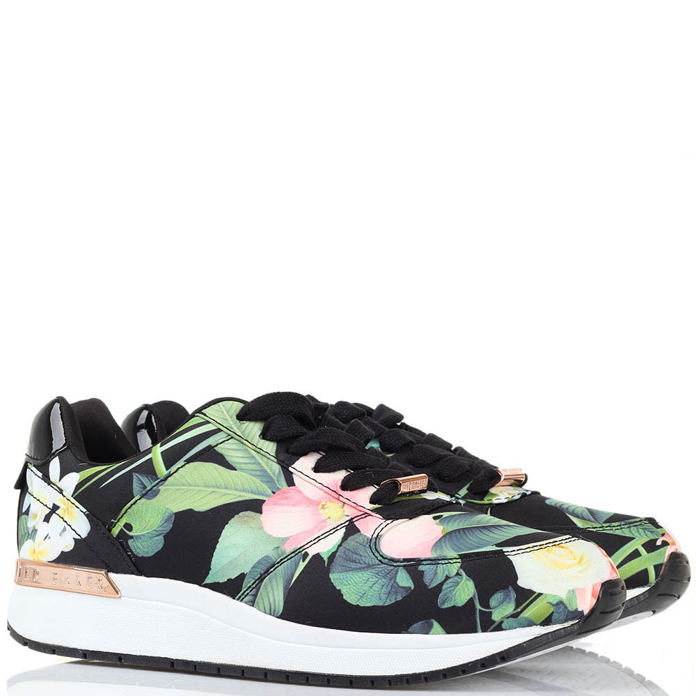Кроссовки Ted Baker черного цвета с флористическим принтом