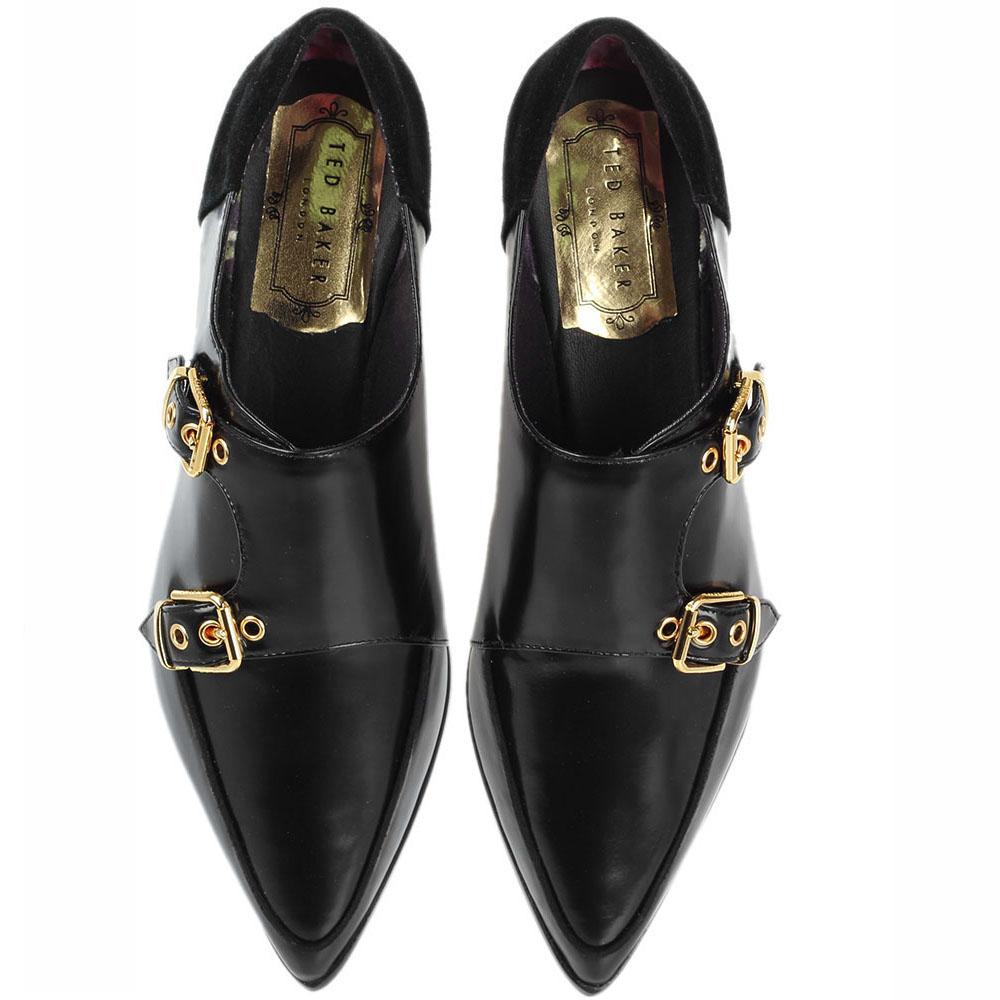 Туфли-монки из полированной кожи Ted Baker черного цвета с замшевой пяточкой