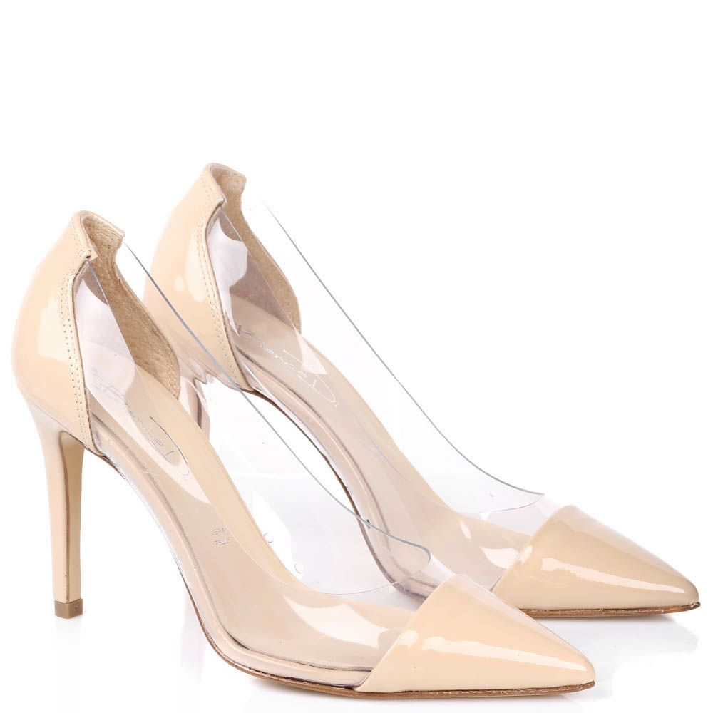 Туфли-лодочки Bianca Di из лаковой кожи бежевого цвета с силиконовыми прозрачными вставками