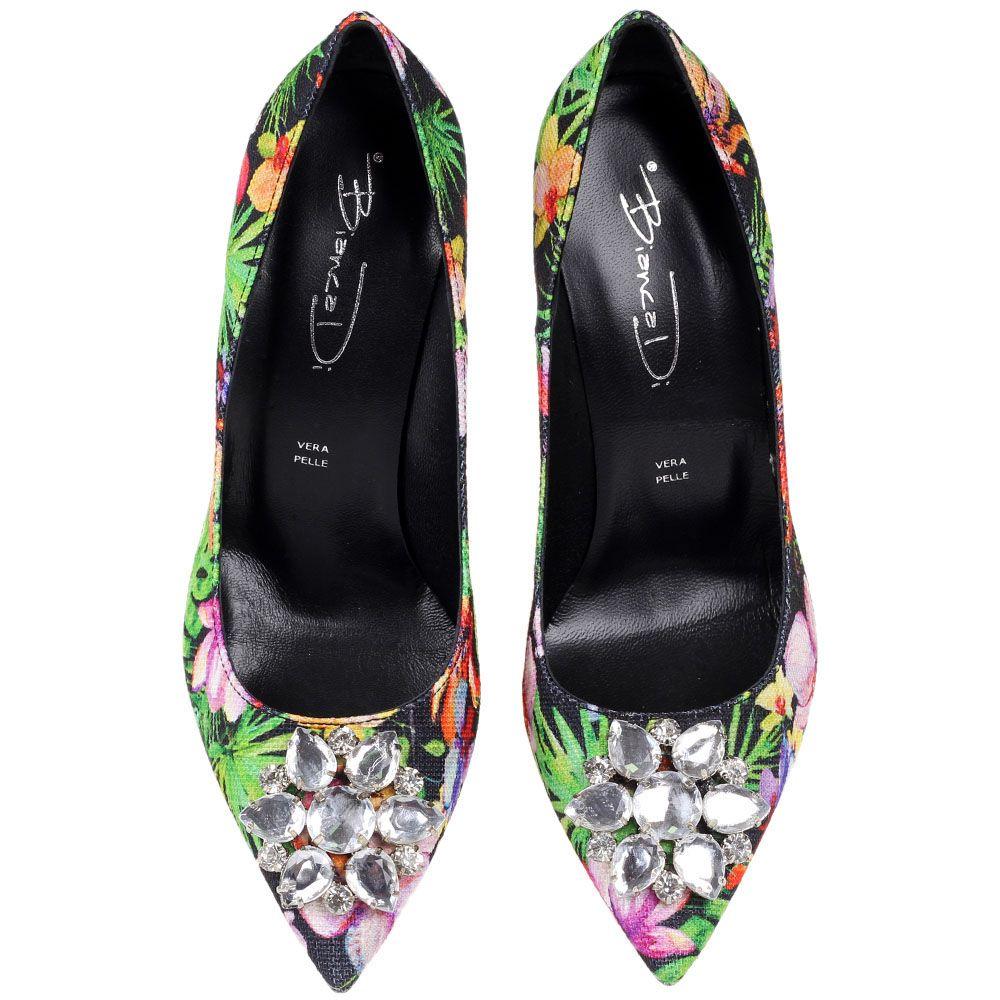 Туфли Bianca Di с флористичным принтом и украшением из крупных камней