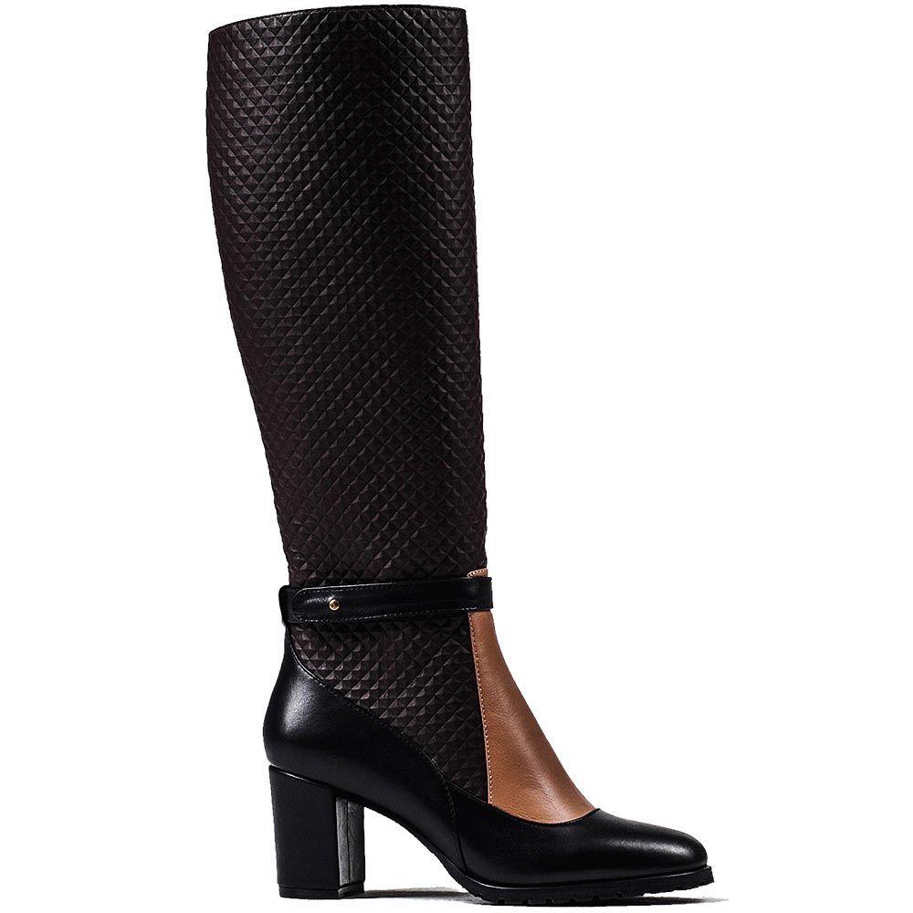 Изящные высокие сапоги Modus Vivendi из сочетания кожи черного, коричневого и бежевого цветов