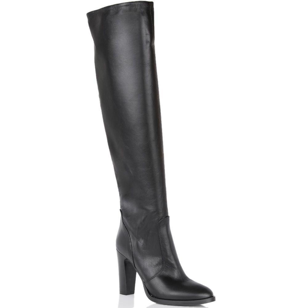Сапоги Bianca Di черного цвета кожаные с округлым носком
