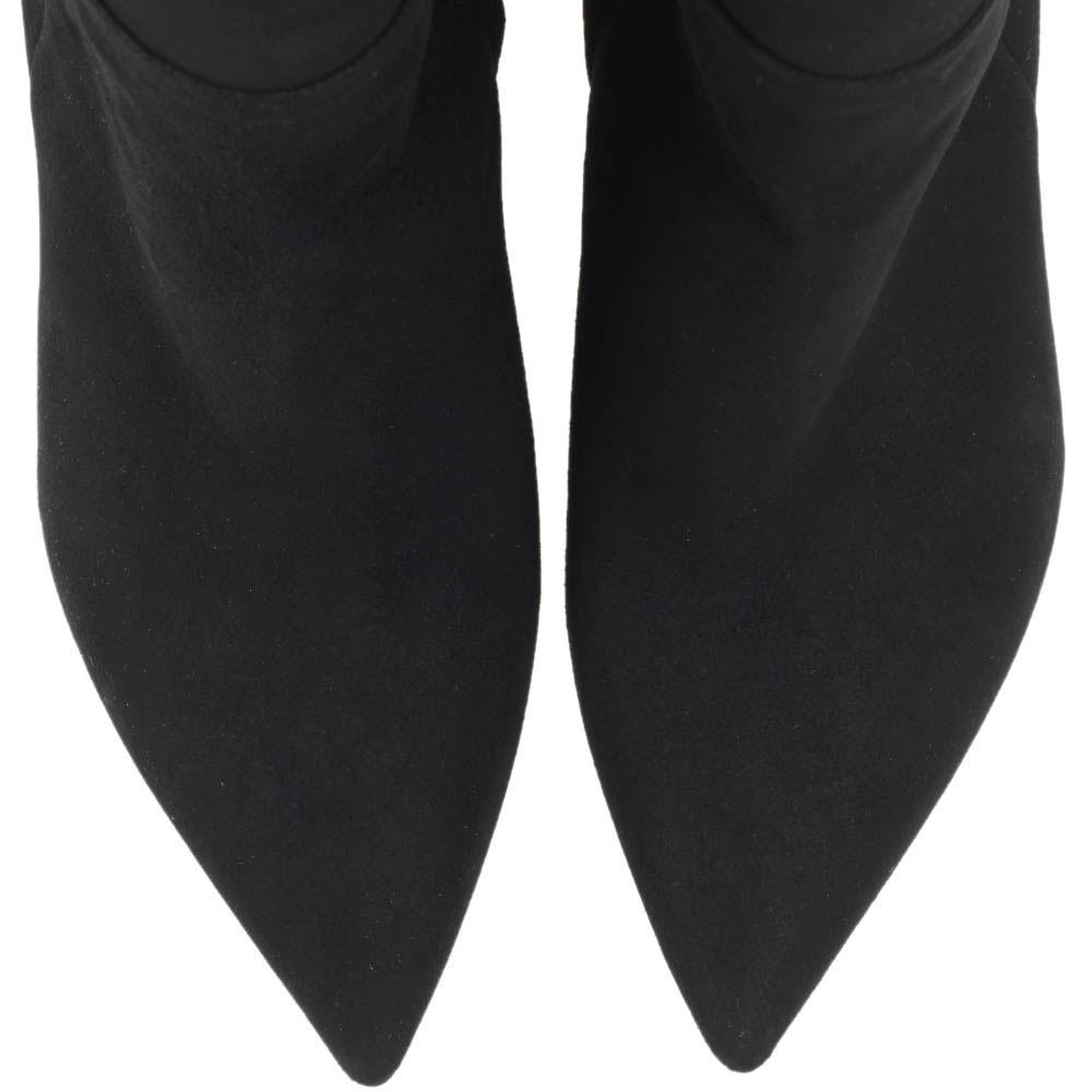Ботфорты из замши черного цвета Bianca Di с декоративными ремешками