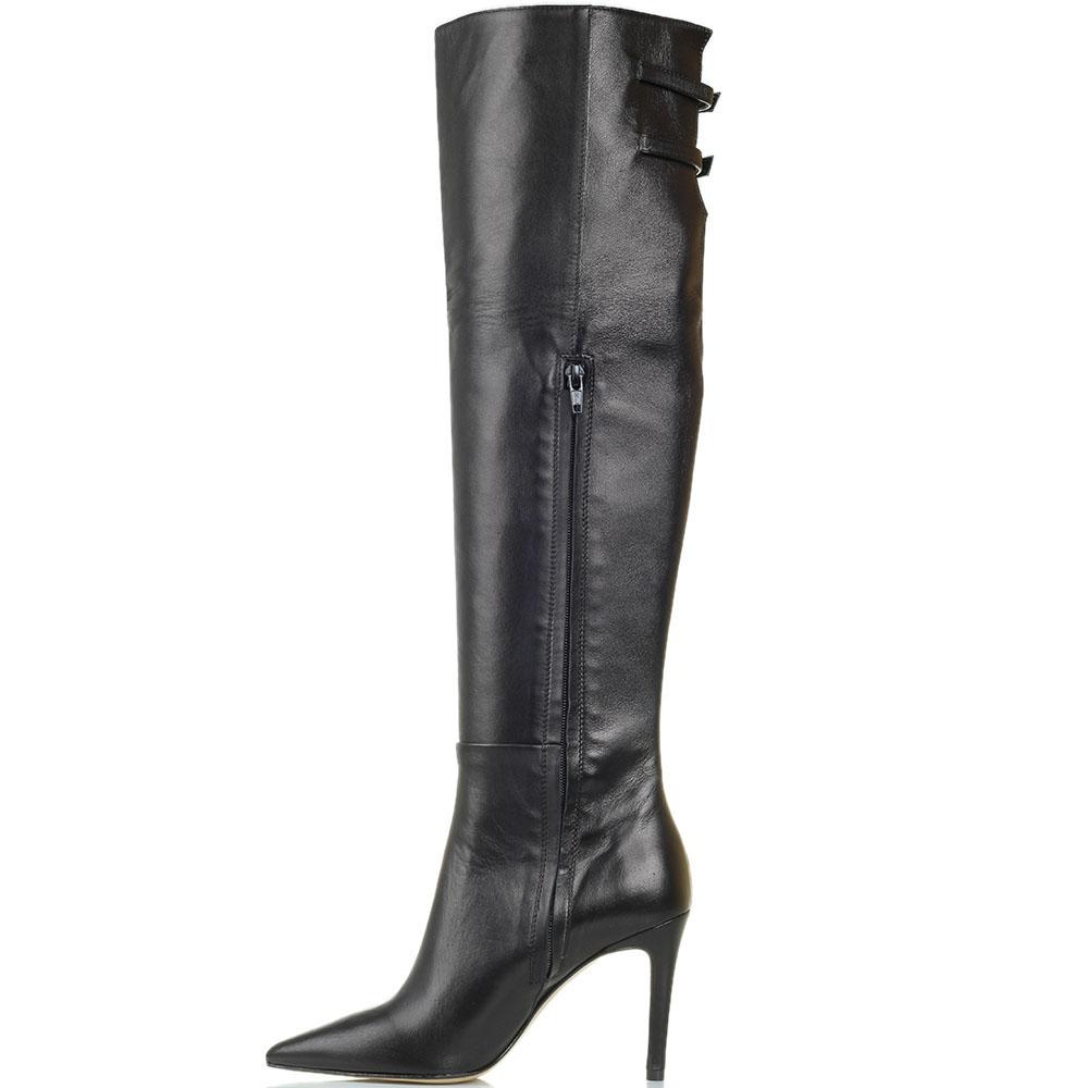 Кожаные ботфорты черного цвета Bianca Di с узким носочком