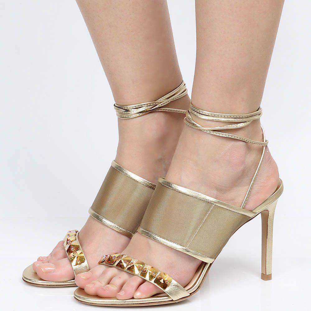 Босоножки на шнуровке Roberto Festa с украшением из крупных страз