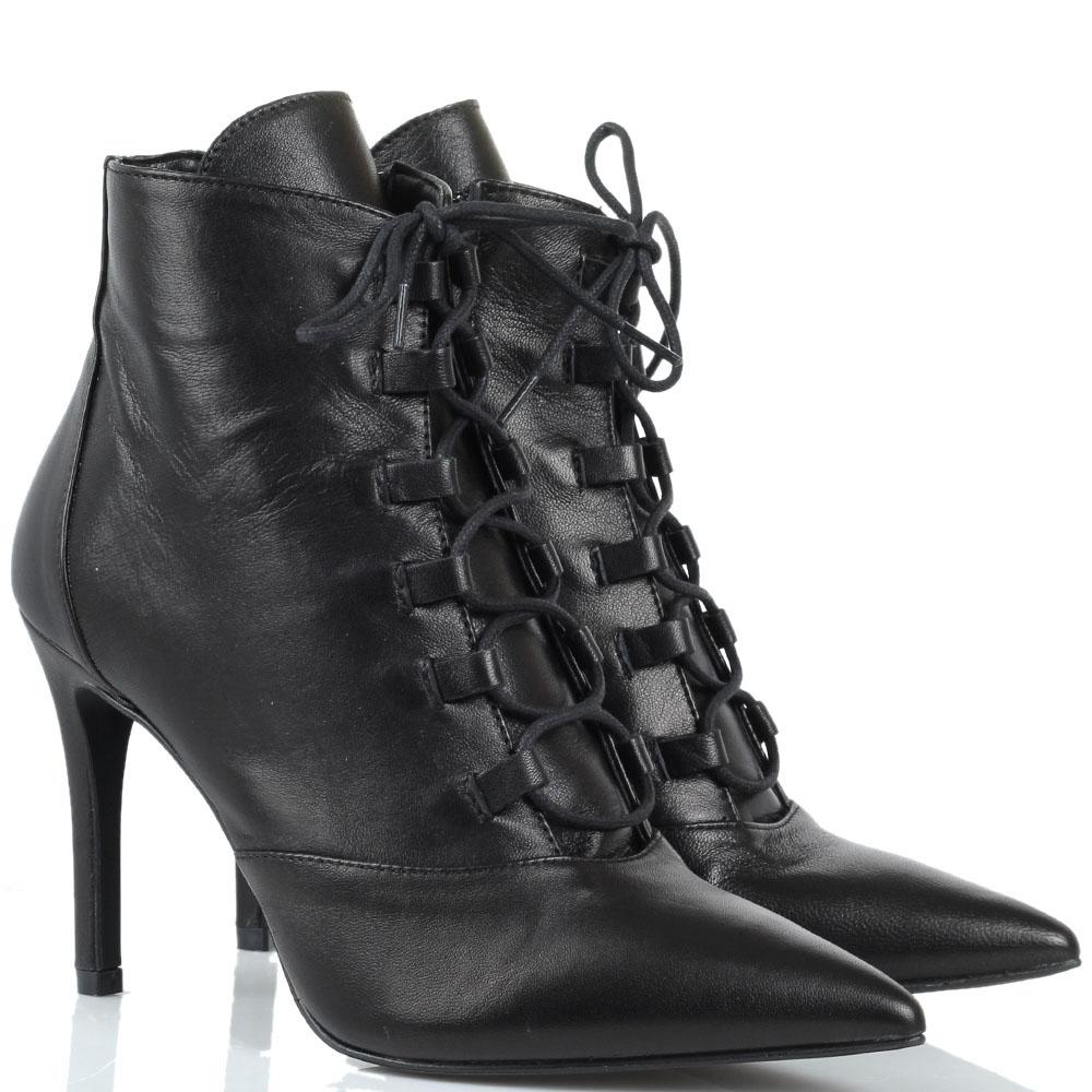 Черные кожаные ботильоны на каблуке Bianca Di на молнии и шнуровке