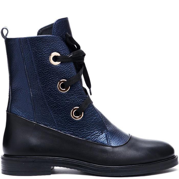 Кожаные ботинки на шнуровке синего цвета Modus Vivendi с черными деталями