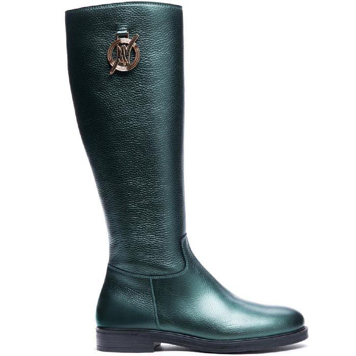 Сапоги из кожи зеленого цвета с металлическим блеском Modus Vivendi украшенные логотипом