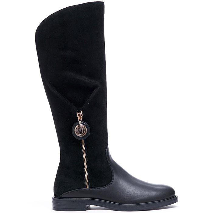 Сапоги из кожи черного цвета на меху Modus Vivendi с замшевым верхом