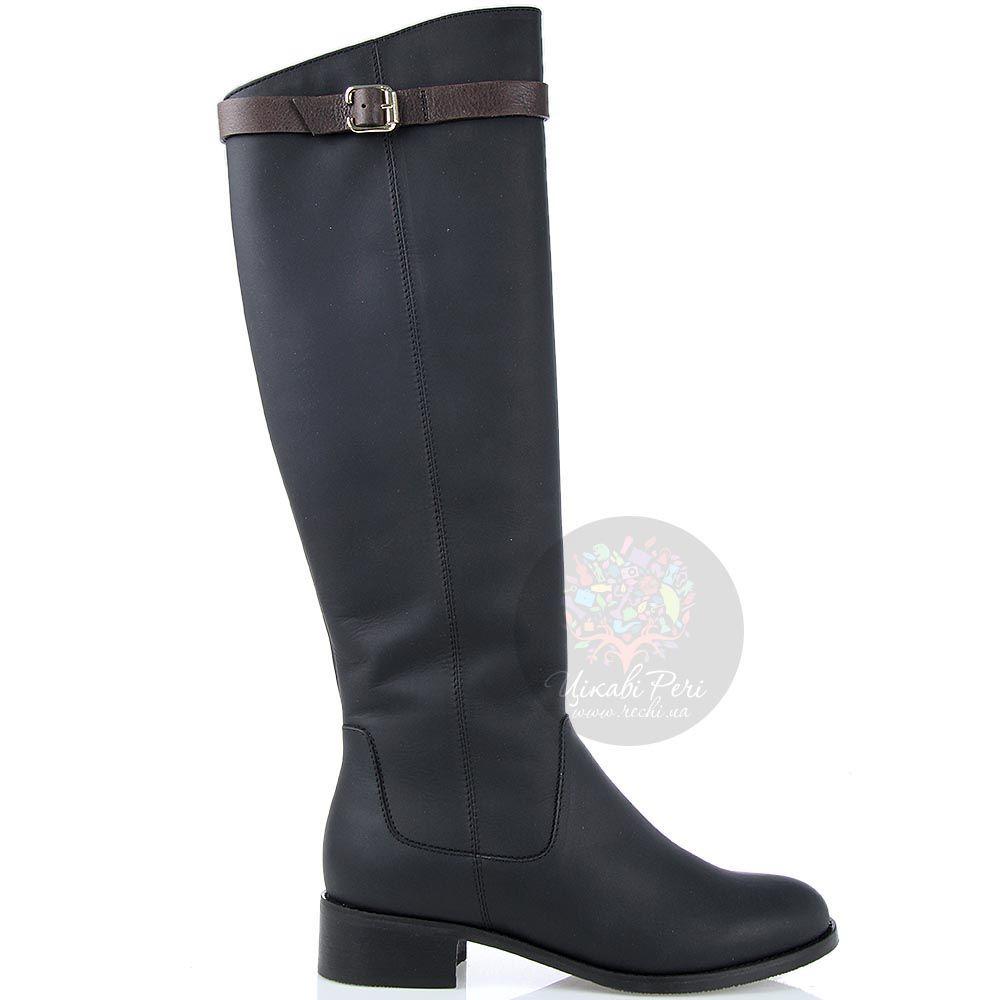 Зимние сапоги Modus Vivendi из кожи черного цвета с коричневым ремешком