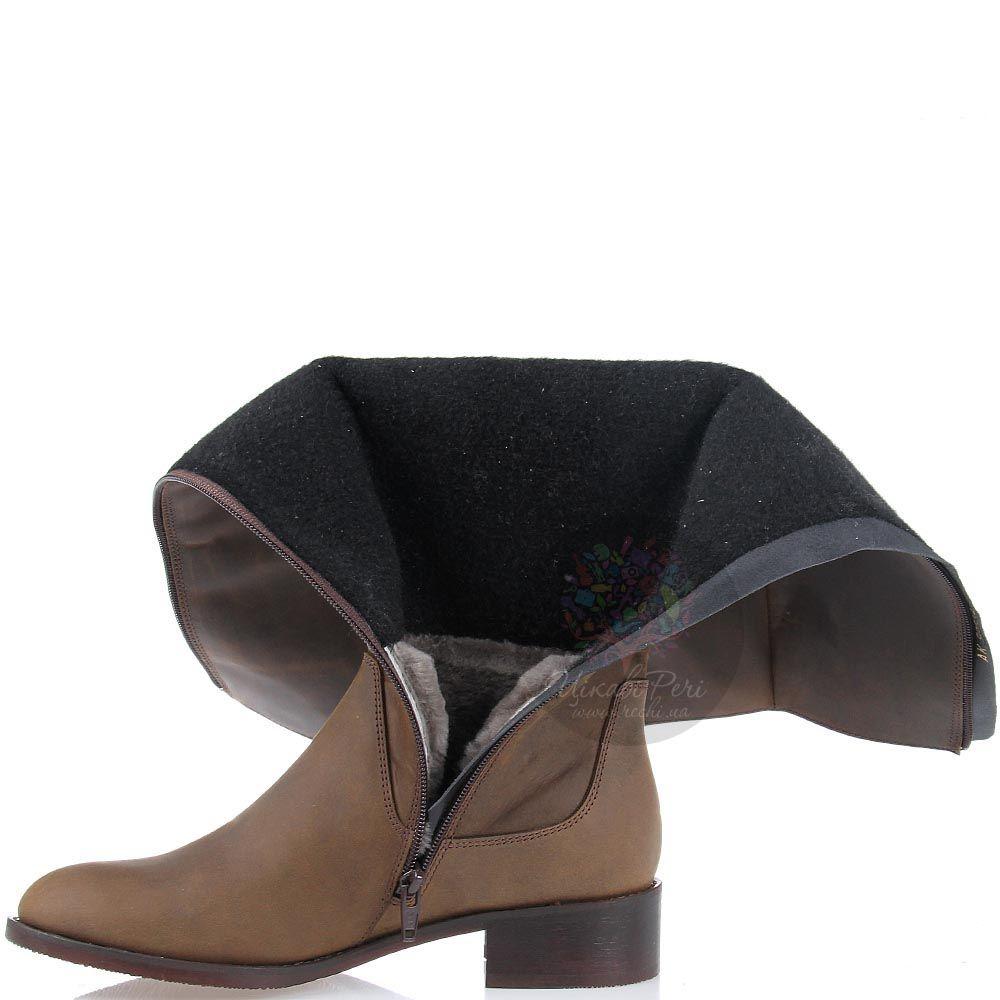 Зимние сапоги Modus Vivendi на низком ходу серо-коричневого цвета из натуральной кожи