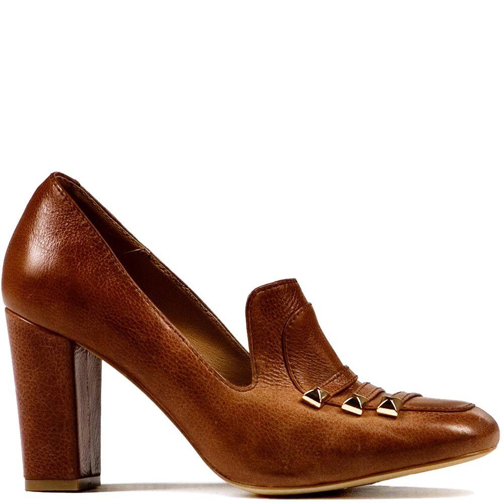 Туфли Modus Vivendi на среднем каблуке из гладкой коричнево-рыжей кожи